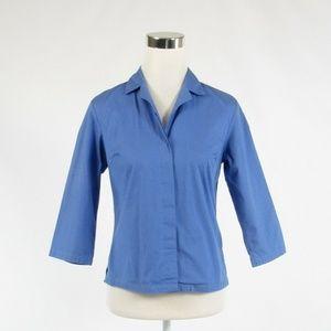 Talbots blue cotton blend blouse 4
